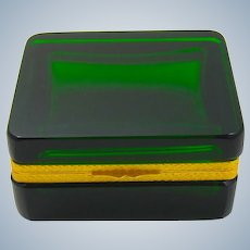 Antique Deep Green Glass Casket Box with Smooth Dore Bronze Mounts.
