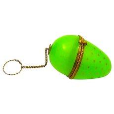 Antique Palais Royal Green Opaline Glass Egg Chatelaine