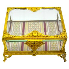 Very Large French Napoleon III Dore Bronze Jewellery Casket Box with Fine Classical Motifs, and 4 Scroll Feet.
