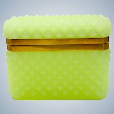 Antique Lemon Opaline Glass 'Diamond Cut ' Rectangular Casket Box with Smooth Dore Bronze Mounts.