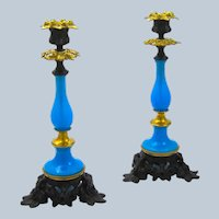 Pair of Tall Antique French Blue Opaline Glass and Dore Bronze Candlesticks.