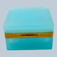 Antique Square Turquoise Opaline Glass Casket Box.