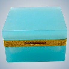 Antique Square Turquoise Opaline Glass Casket Box.