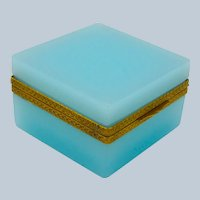 Antique Square Turquoise Opaline Glass Casket Box with Fancy Dore Bronze Mounts
