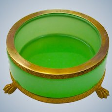 Antique French Green Opaline Glass and Dore Mounted Dish.