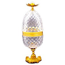 Antique BACCARAT Pineapple Diamond Cut Crystal Casket with Dore Bronze Mounts and Flowers Finial.