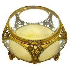 Large Antique French Hexagonal Dore Bronze Jewellery Casket Box with Fine Tulip Flower Decoration