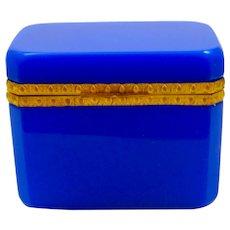 Vintage Italian Murano 'Lapis' Blue Glass Casket Box with Dore Bronze Mounts.