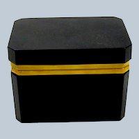 Vintage Italian Murano Black Opaline Glass Casket Box with Smooth Mounts.