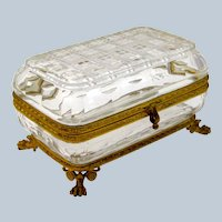 Antique French Cut Crystal Casket with Dore Bronze Mounts.