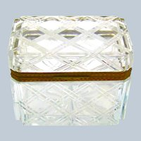 Antique French BACCARAT Cut Crystal Casket Decorated with a Diamond Cut Cross Hatching Pattern