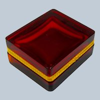 Antique Deep Ruby Red Glass Casket Box with Intricate Dore Bronze Mounts.
