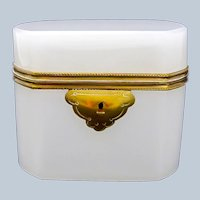 Antique French White Opaline Glass Casket with Smooth Dore Bronze Mounts.