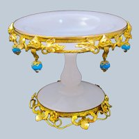 Antique French Palais Royal White Opaline Glass Bowl with Blue Opaline Baubles.
