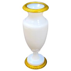 Antique French White Opaline 'Bulle de Savon' Glass Vase