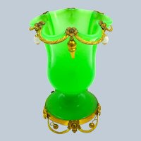 Antique French Palais Royal Green Opaline Glass Vase with Undulating Rim.