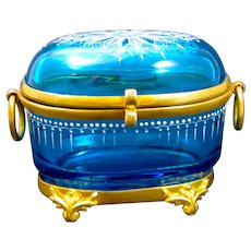 Antique MOSER Bohemian Turquoise Enamelled Glass Casket Box