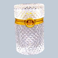 Antique Baccarat Diamond Cut Crystal Glass Casket Box with Bow Clasp.