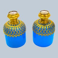 Pair of Antique Palais Royal Blue Opaline Glass Perfume Bottles