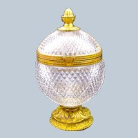 Large Antique BACCARAT Diamond Cut Crystal Casket with Dore Bronze Mounts.