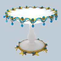 A Large Antique French Palais Royal White Opaline Glass Bowl Centrepiece with Blue Opaline Glass Baubles Hanging Down.