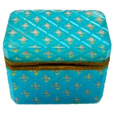 Antique French Blue Opaline Glass Casket Box with Pretty Flowers Throughout.