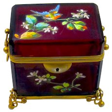 Antique MOSER Ruby Red Glass Casket Enamelled with a Bird and Lady Bird.