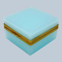 Antique Square Turquoise Opaline Glass Casket Box with Fancy Dore Bronze Mounts and Lift Clasp.