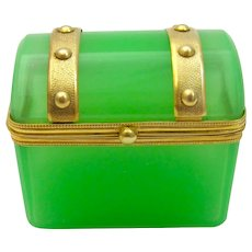 Antique Miniature French Green Opaline Casket.