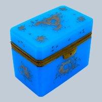 Large Antique Rectangular Blue Opaline Casket Box with Beautiful Silver Enamelling