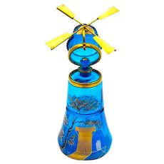 RARE Large Antique Turquoise Glass Perfume Bottle Shaped like a Windmill.