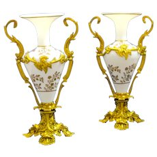 Stunning Pair of Antique French White Opaline Gold Enamelled Glass and Dore Bronze Vases.