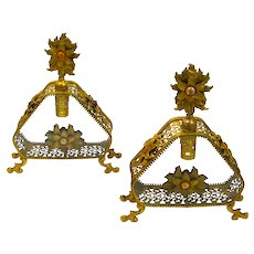 A Pair of Large Antique French Jewelled Perfume Bottles.