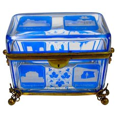 Large Antique Bohemian Blue Cut to Clear Overlay Glass Spa Hinged Box.