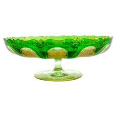 Antique Bohemian Moser Green Glass Bowl