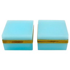 Pair of Elegant Antique Turquoise Blue Opaline Glass Casket Boxes