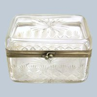 Antique French Cut Crystal Casket with Silver Plate Mounts