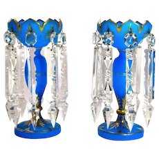 Pair French 19th Century Blue Opaline Lustres
