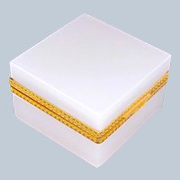 Large Antique White Opaline Glass Square Box with Fancy Dore Bronze Mounts and Lift Clasp.