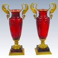 Pair of Stunning French Baccarat Empire Ruby Cut Vases