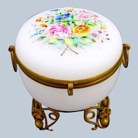Antique French White Opaline Glass Casket Box with Pretty Hand Painted Enamelled Flowers.