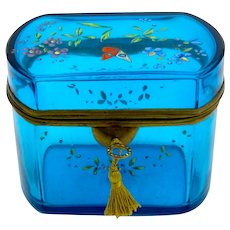 Large Antique French Turquoise Blue Crystal Casket Enamelled with Pretty Flowers and Colourful Bird.