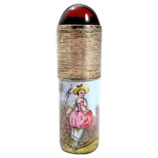 Antique Palais Royal French Miniature Scent Bottle Finely Enamelled with a Lady in a Pastoral Scene.