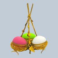 Super Palais Royal Triple Opaline Glass Egg Wigwam Casket