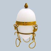 Antique Palais Royal White Opaline Glass Egg Shaped Casket Box