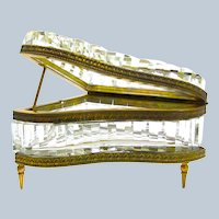 RARE Antique French Cut Crystal Piano Shaped Casket Box.