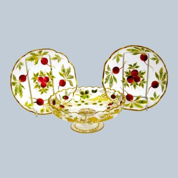 Antique Bohemian MOSER Enamelled Set Decorated with Pretty Strawberries.