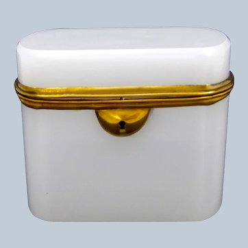Antique French White Opaline Glass Casket with Smooth Dore Bronze Mounts and Lock.