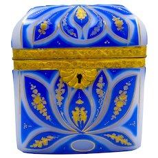 Super High Quality Bohemian Blue Overlay Opaline 'Barfatan' Casket with Fine Dore Bronze Mounts.