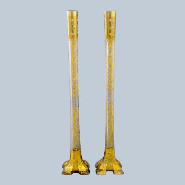 Pair of Tall Antique MOSER Vases with Roses.